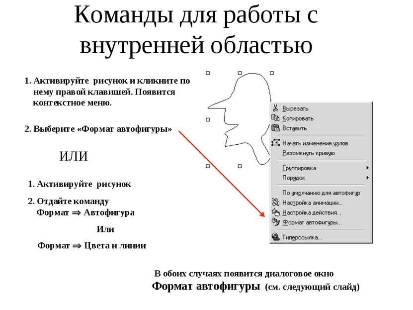 Команды для работы с внутренней областью 1. Активируйте рисунок и кликните по...