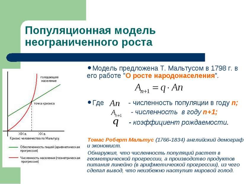 Популяционная модель неограниченного роста Модель предложена Т. Мальтусом в 1...