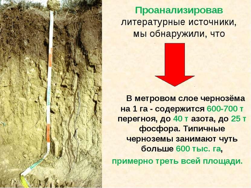 Проанализировав литературные источники, мы обнаружили, что В метровом слое че...