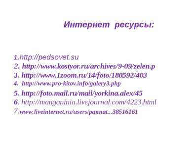 Интернет ресурсы: 1.http://pedsovet.su 2. http://www.kostyor.ru/archives/9-09...