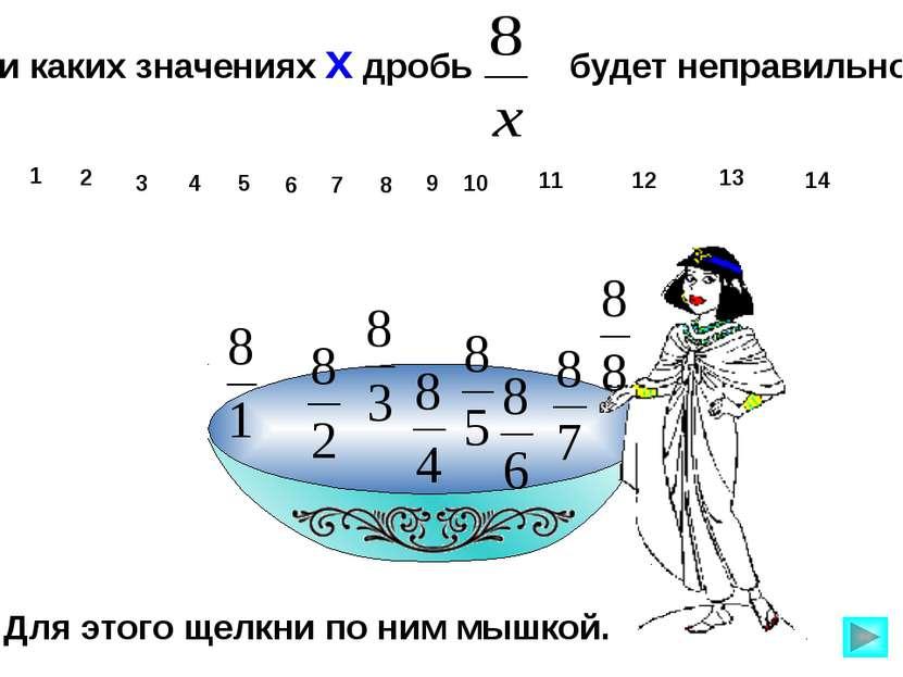При каких значениях х дробь будет неправильной? 1 10 11 12 13 14 2 3 4 5 6 7 ...