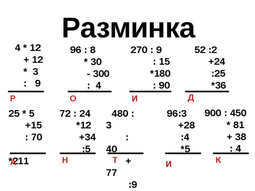 Разминка 4 * 12 + 12 * 3 : 9 Р 96 : 8 * 30 - 300 : 4 270 : 9 : 15 *180 : 90 5...
