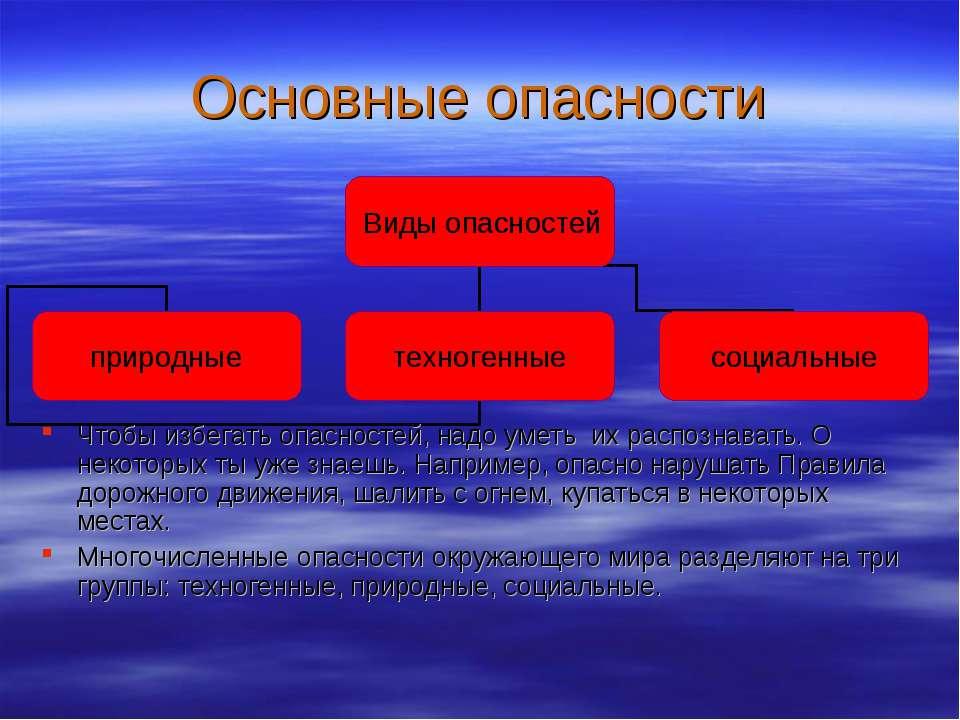 Основные опасности Чтобы избегать опасностей, надо уметь их распознавать. О н...