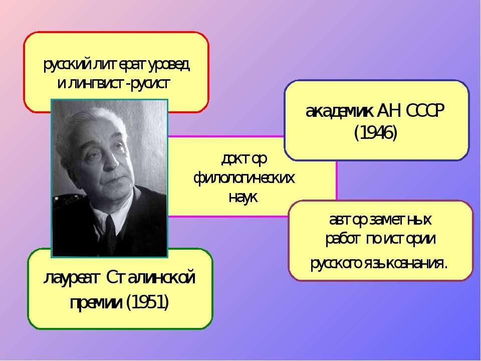 русский литературовед и лингвист-русист лауреат Сталинской премии (1951) докт...