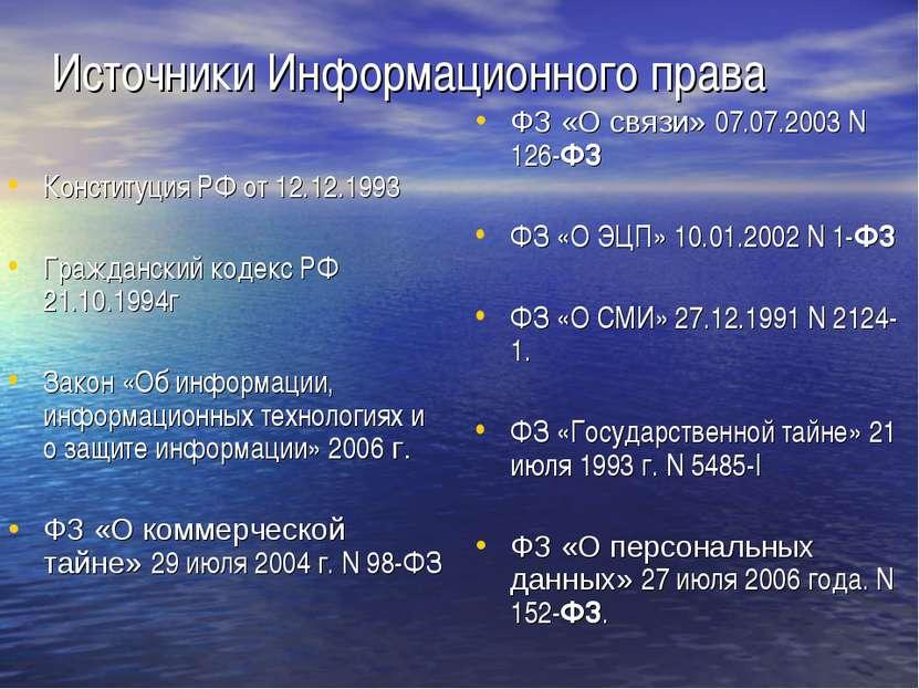 Источники Информационного права Конституция РФ от 12.12.1993 Гражданский коде...