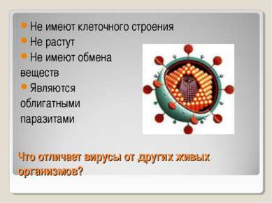 Что отличает вирусы от других живых организмов? Не имеют клеточного строения ...