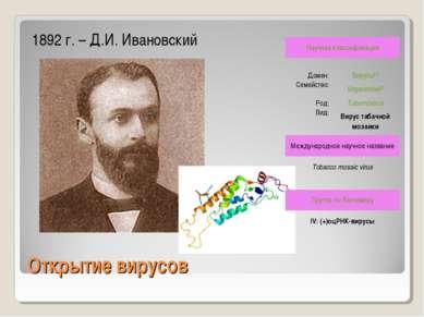 Открытие вирусов 1892 г. – Д.И. Ивановский Научная классификация Домен: Виру...