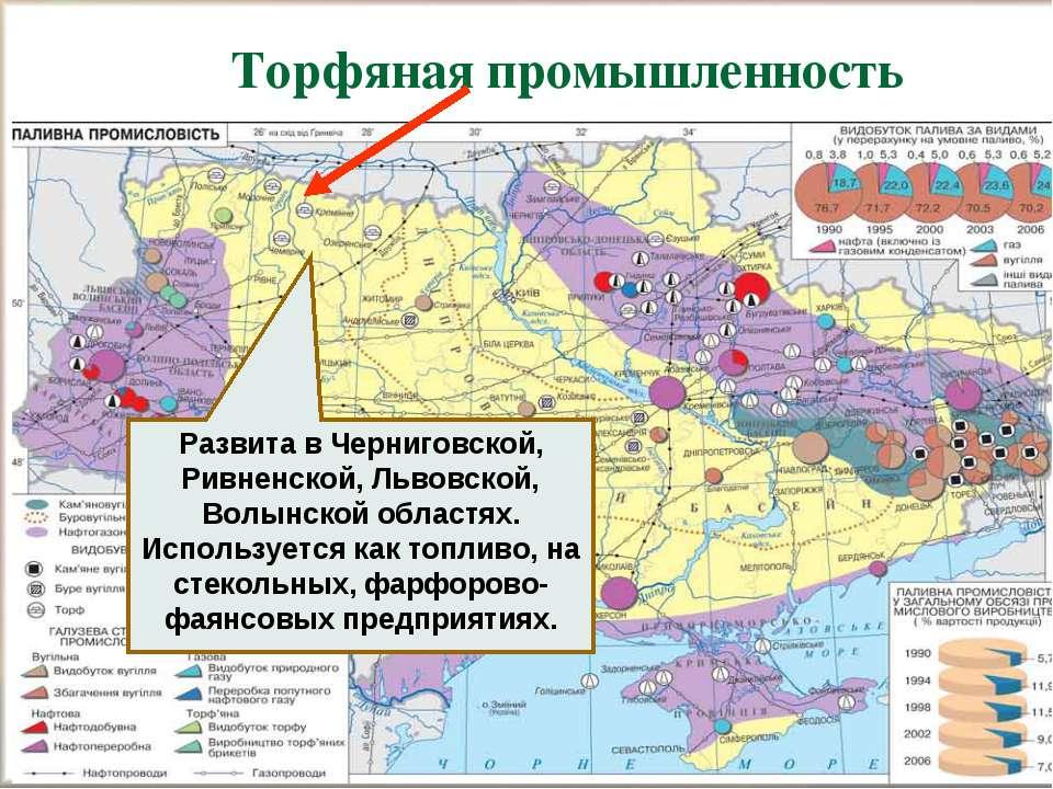 Торфяная промышленность Развита в Черниговской, Ривненской, Львовской, Волынс...