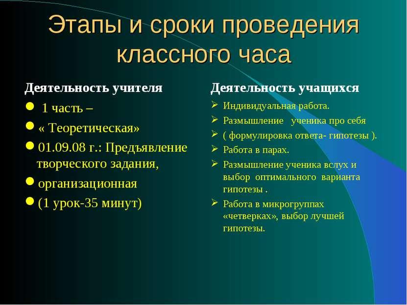 Этапы и сроки проведения классного часа Деятельность учителя 1 часть – « Теор...