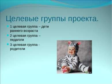 Целевые группы проекта. 1 целевая группа – дети раннего возраста 2 целевая гр...