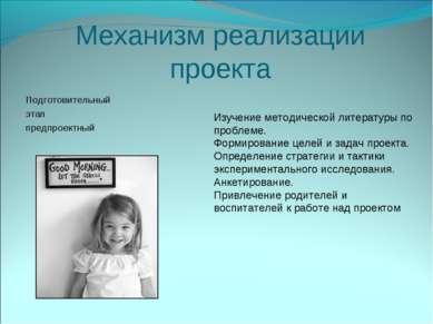 Механизм реализации проекта Подготовительный этап предпроектный Изучение мето...