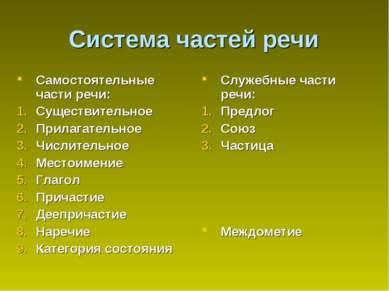 Система частей речи Самостоятельные части речи: Существительное Прилагательно...