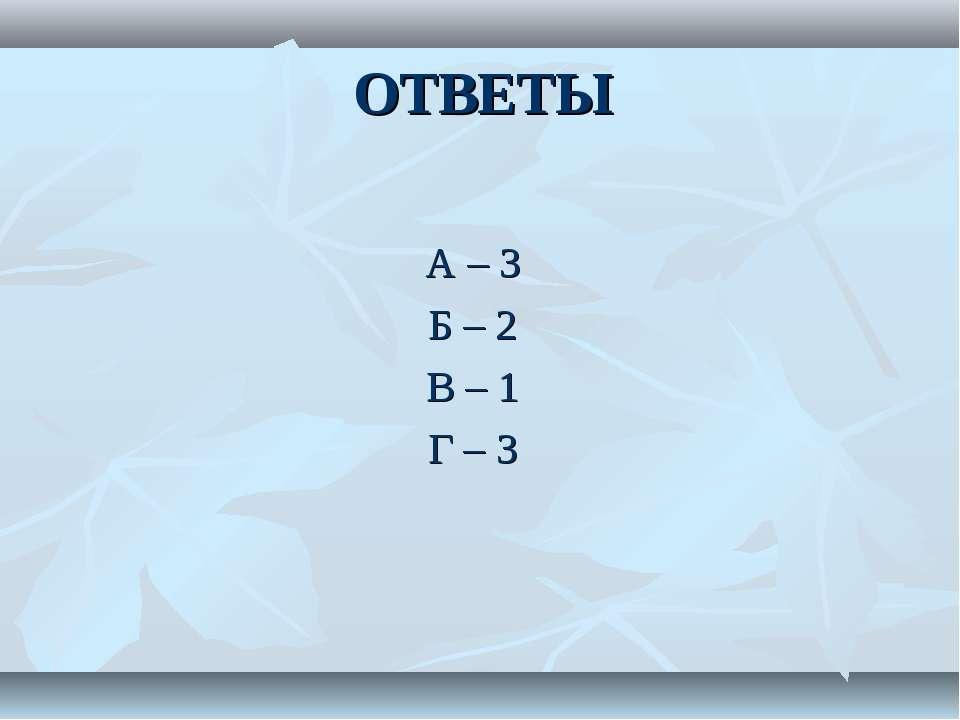 ОТВЕТЫ А – 3 Б – 2 В – 1 Г – 3