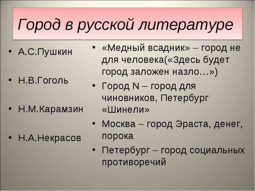 Город в русской литературе А.С.Пушкин Н.В.Гоголь Н.М.Карамзин Н.А.Некрасов «М...