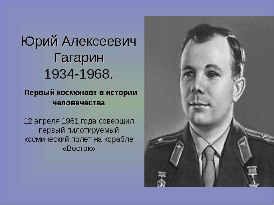 Юрий Алексеевич Гагарин 1934-1968. Первый космонавт в истории человечества 12...