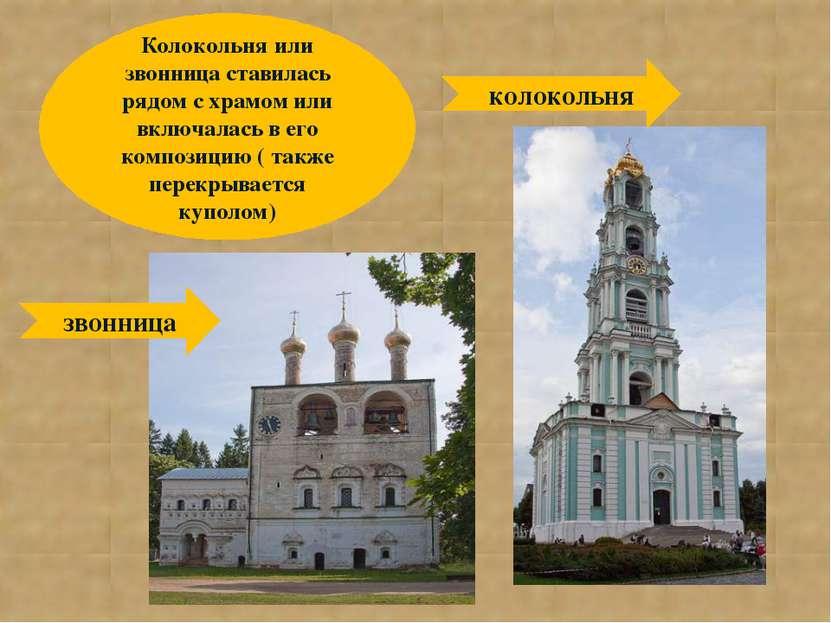 Колокольня или звонница ставилась рядом с храмом или включалась в его компози...