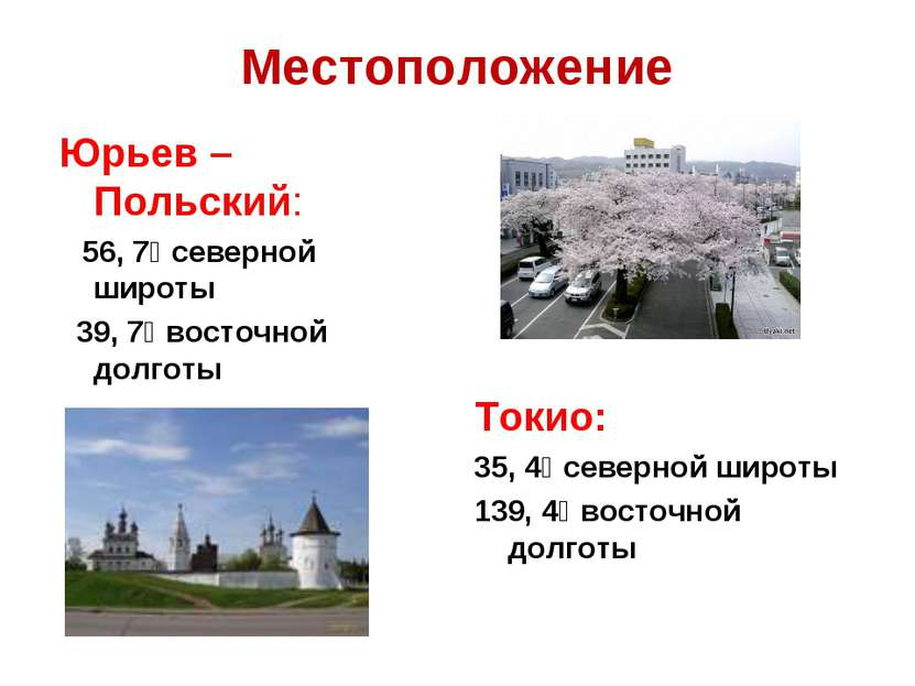 Местоположение Юрьев – Польский: 56, 7⁰ северной широты 39, 7⁰ восточной долг...