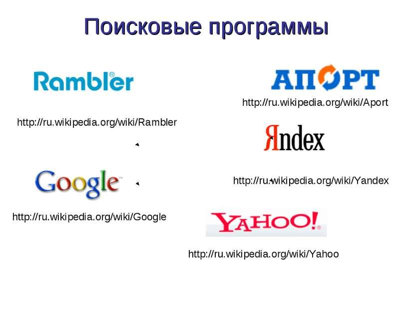 Поисковые программы http://ru.wikipedia.org/wiki/Yandex http://ru.wikipedia.o...