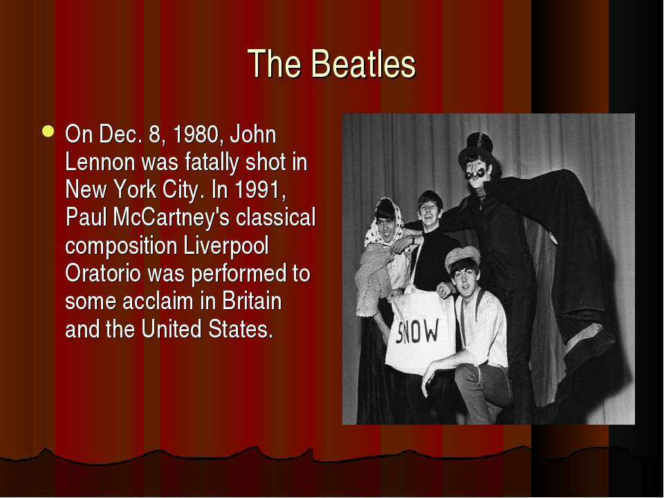 The Beatles On Dec. 8, 1980, John Lennon was fatally shot in New York City. I...