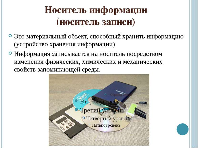 Носитель информации (носитель записи) Это материальный объект, способный хран...
