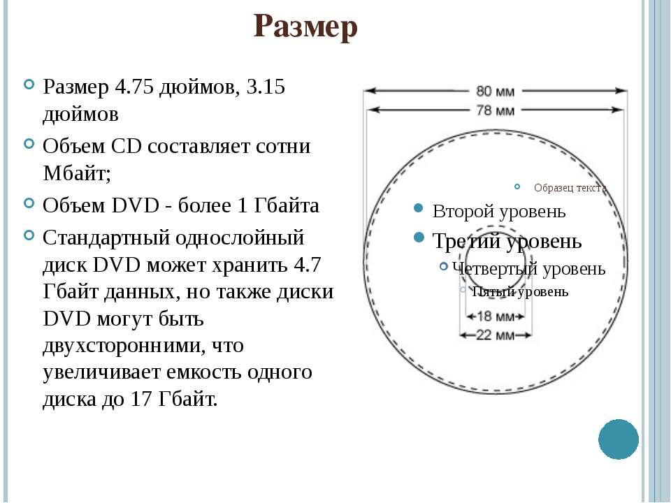 Размер Размер 4.75 дюймов, 3.15 дюймов Объем CD составляет сотни Мбайт; Объем...