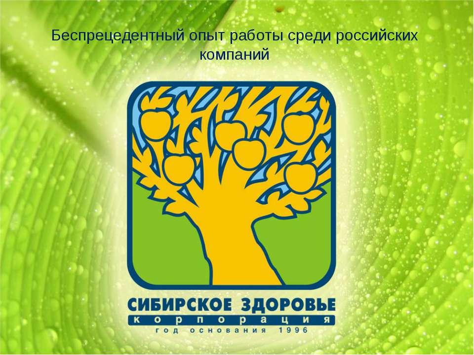 Беспрецедентный опыт работы среди российских компаний