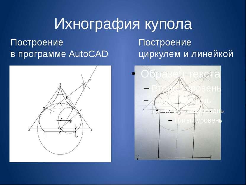 Ихнография купола Построение в программе AutoCAD Построение циркулем и линейкой