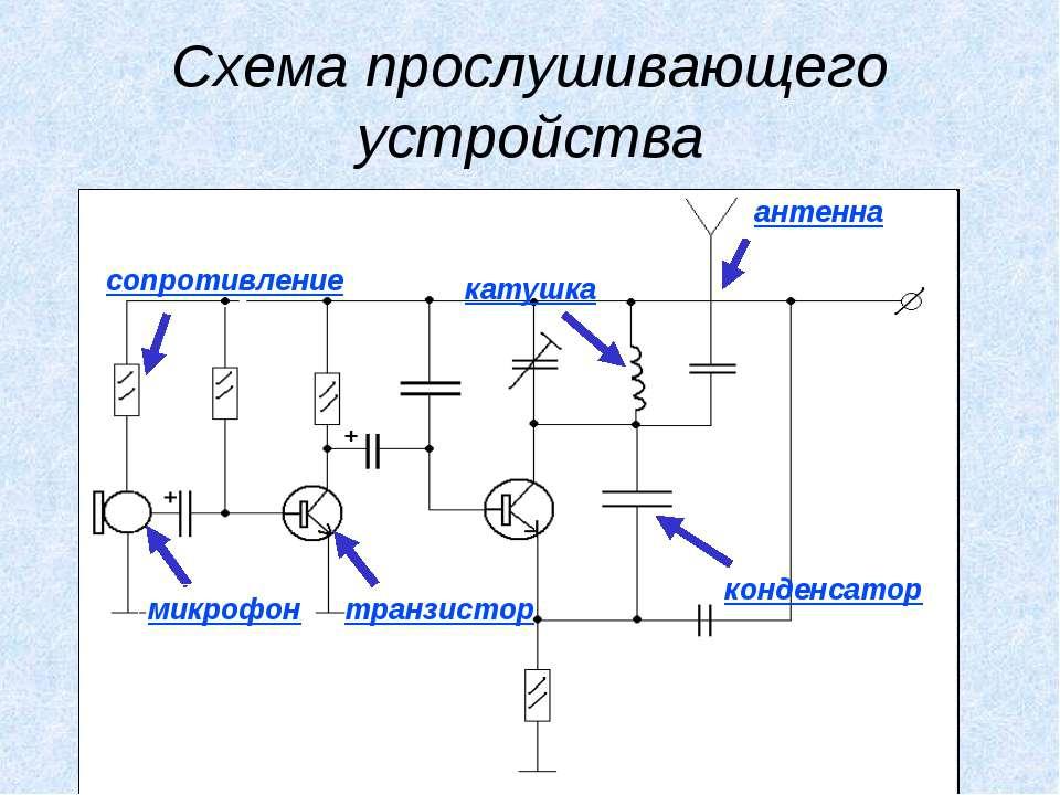 Схема прослушивающего устройства катушка конденсатор антенна сопротивление ми...
