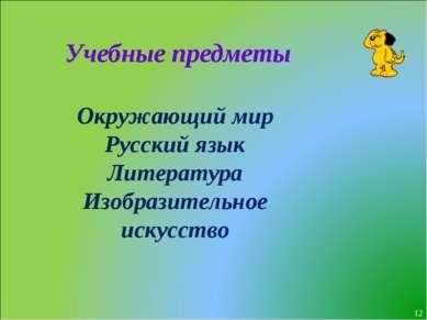 * Учебные предметы Окружающий мир Русский язык Литература Изобразительное иск...