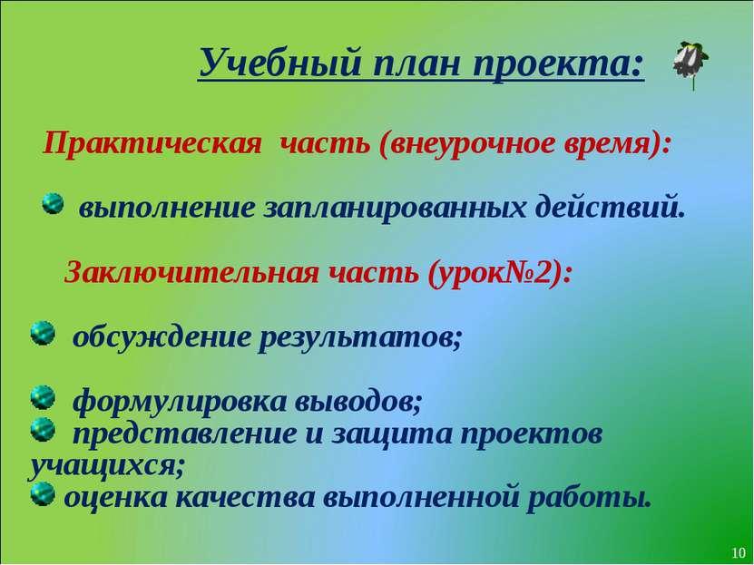 * Учебный план проекта: Практическая часть (внеурочное время): выполнение зап...