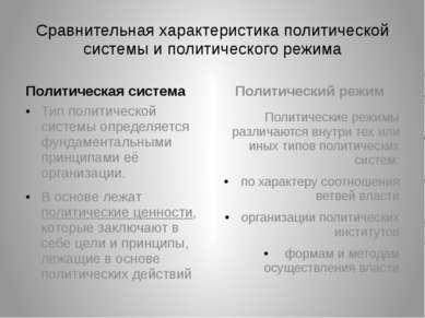 Сравнительная характеристика политической системы и политического режима Поли...