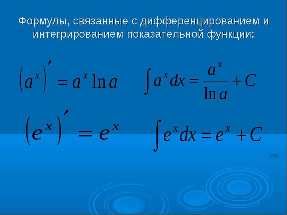 Формулы, связанные с дифференцированием и интегрированием показательной функции: