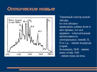 Оптические новые Типичный спектр новой звезды; по оси абсцисс приведены длины...