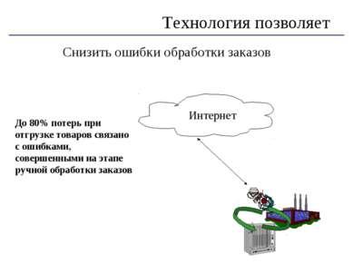 Снизить ошибки обработки заказов Технология позволяет До 80% потерь при отгру...