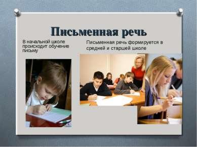 Письменная речь В начальной школе происходит обучение письму Письменная речь ...