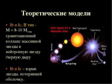 Теоретические модели Ib и Ic, II тип - М = 8-10 МСолнца гравитационный коллап...