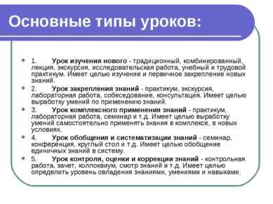 Основные типы уроков: 1. Урок изучения нового - традиционный, комбинир...