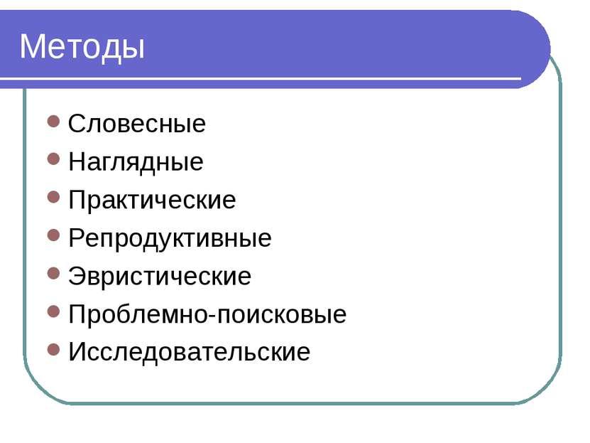 Методы Словесные Наглядные Практические Репродуктивные Эвристические Проблемн...