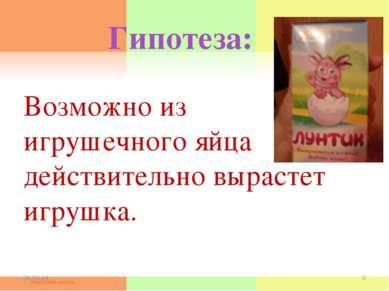 Гипотеза: Возможно из игрушечного яйца действительно вырастет игрушка. * *