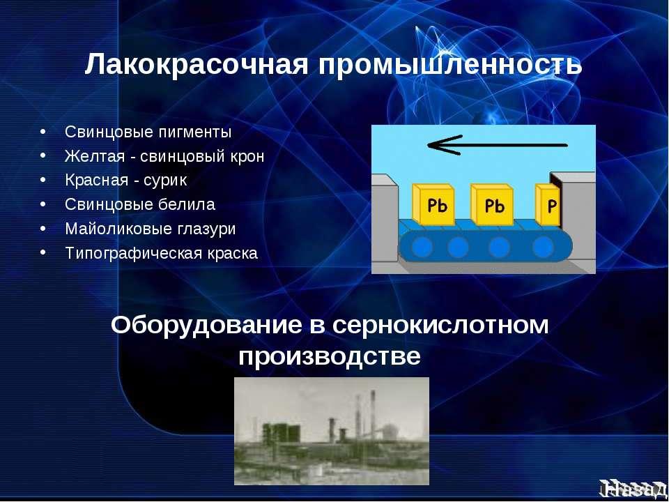 Лакокрасочная промышленность Свинцовые пигменты Желтая - свинцовый крон Красн...