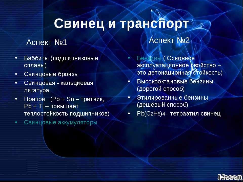 Свинец и транспорт Баббиты (подшипниковые сплавы) Свинцовые бронзы Свинцовая ...