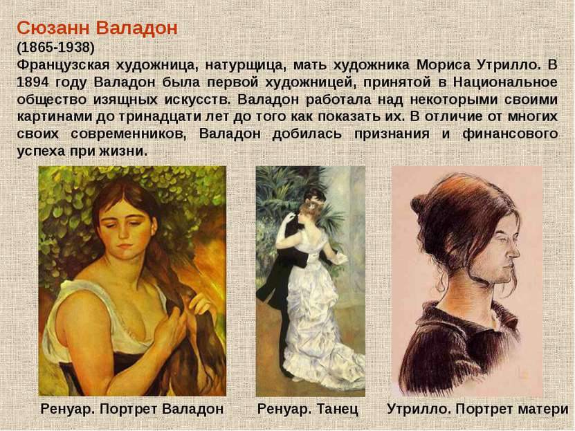 Сюзанн Валадон (1865-1938) Французская художница, натурщица, мать художника М...