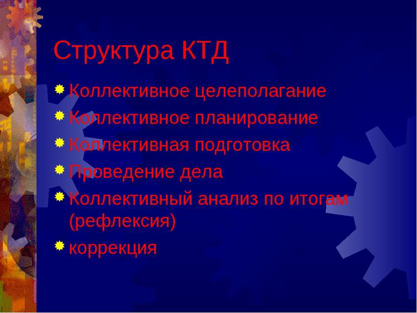 Структура КТД Коллективное целеполагание Коллективное планирование Коллективн...
