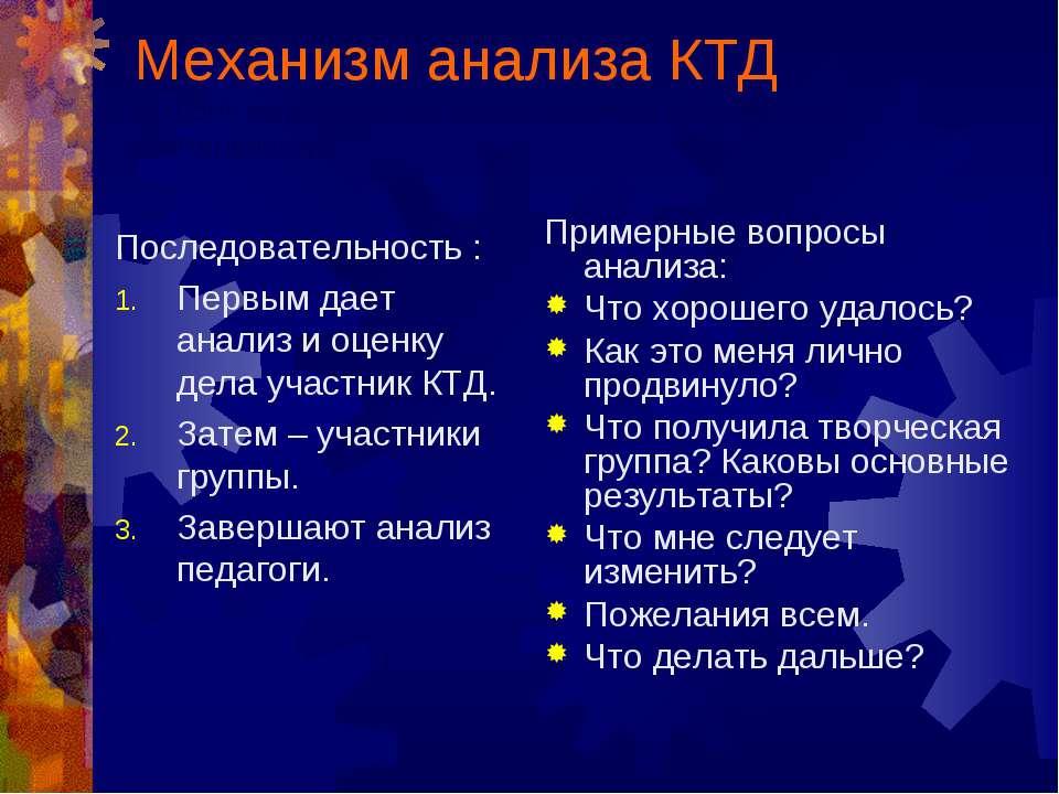 Механизм анализа КТД (акцент на рефлексию воспитанником собственной деятельно...