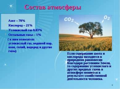 * Азот – 78% Кислород – 21% Углекислый газ 0,03% Остальные газы – 1% ( к ним ...