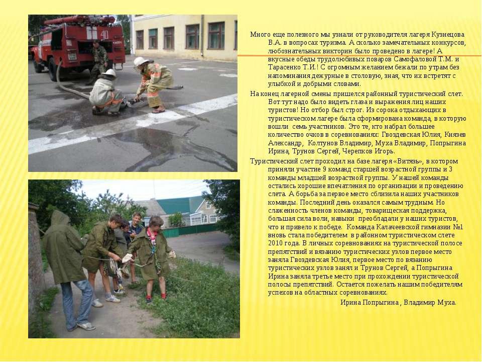 Много еще полезного мы узнали от руководителя лагеря Кузнецова В.А. в вопроса...