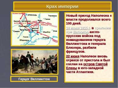 Крах империи Новый приход Наполеона к власти продолжался всего 100 дней. 18 и...