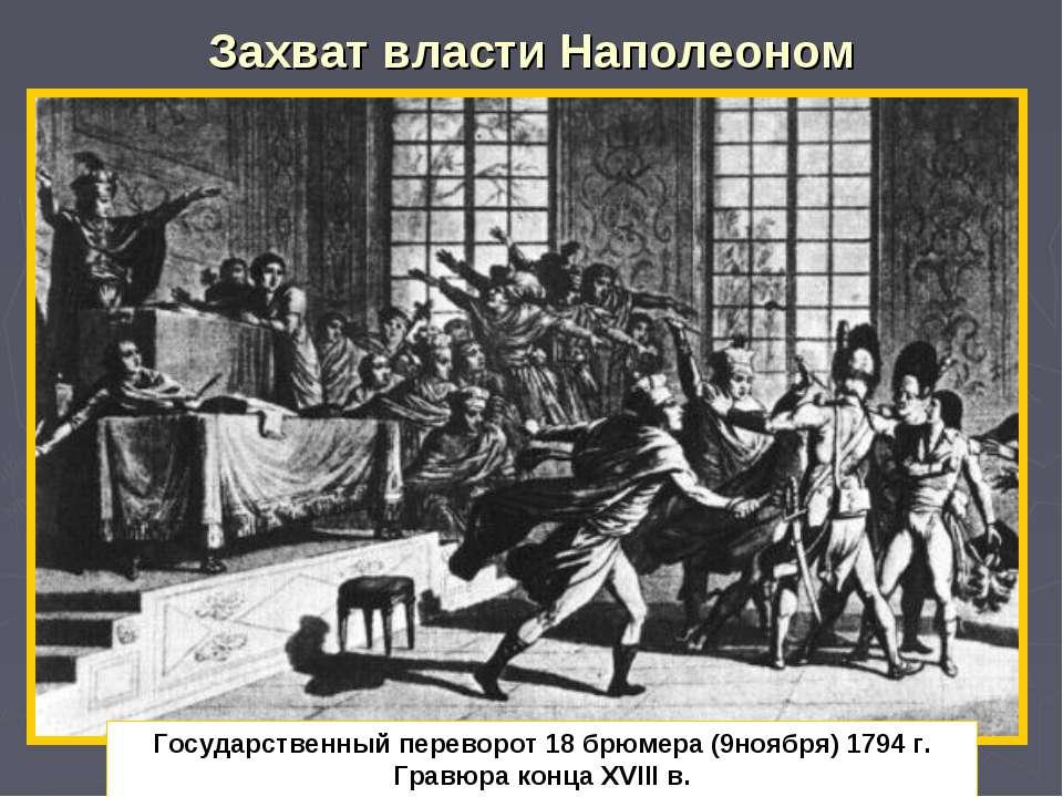 Захват власти Наполеоном Государственный переворот 18 брюмера (9ноября) 1794 ...