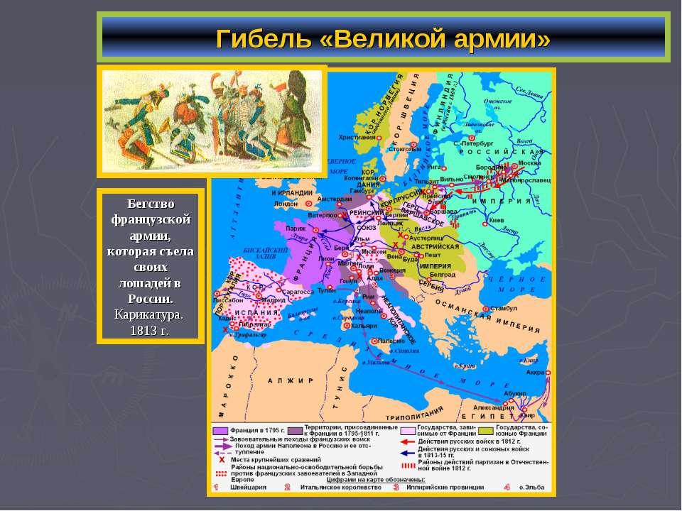 Гибель «Великой армии» Бегство французской армии, которая съела своих лошадей...