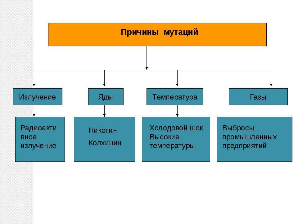 Причины мутаций Излучение Яды Температура Газы Радиоактивное излучение Никоти...
